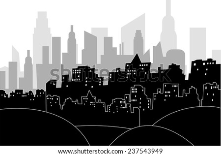 Black and white illustration of a modern city by night - stock vector