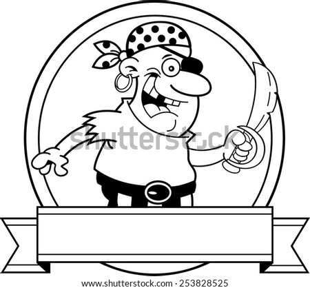Black and white illustration of a pirate inside a circle with a banner. - stock vector