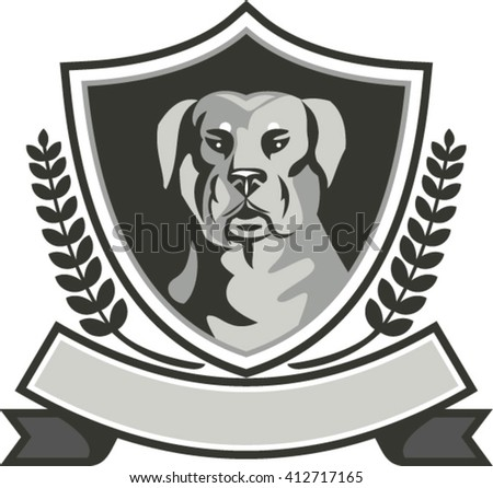 Black and white illustration of a Rottweiler Metzgerhund mastiff-dog guard dog head viewed from front set inside shield crest with laurel leaves and ribbon done in retro style.