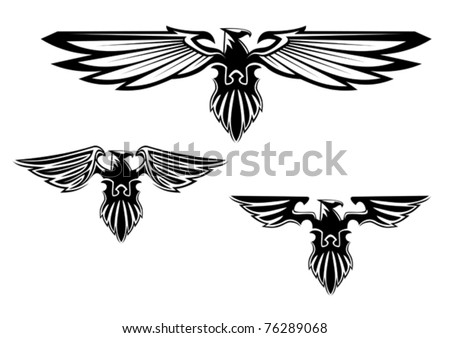 Black and white illustration of a stylized eagle or phoenix with outspread wings with three different variations of the wings. Jpeg version also available in gallery - stock vector
