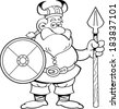 Black and white illustration of a viking holding a shield and a spear. - stock