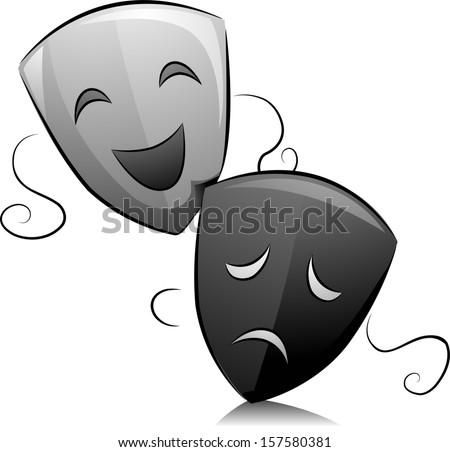 Black and White Illustration of Drama Masks Depicting Comedy and Tragedy - stock vector