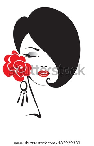 Black and white illustration of elegant woman  - stock vector