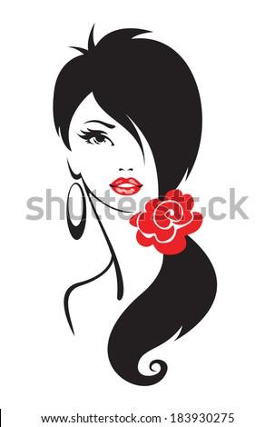 Black and white illustration of elegant woman  - stock vector