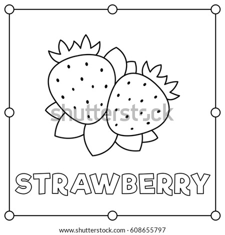 Black White Illustration Strawberry Coloring Page Stock Photo Photo