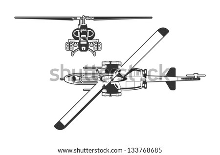 black and white illustration of the helicopter. - stock vector