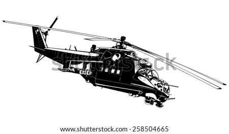 black and white illustration of the Russian Helicopter gunships.  - stock vector