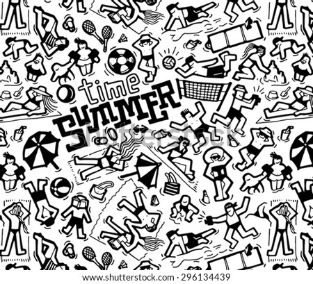Black and white illustration. Summer set. People on the beach. Pattern. Characters. Summer time. Vector.