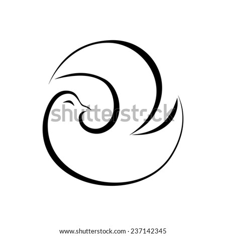 Black and white illustration with stylized abstract dove symbolizing peace and health care. Sketch ink painting. Design element useful for logo. Vector file is EPS8. - stock vector