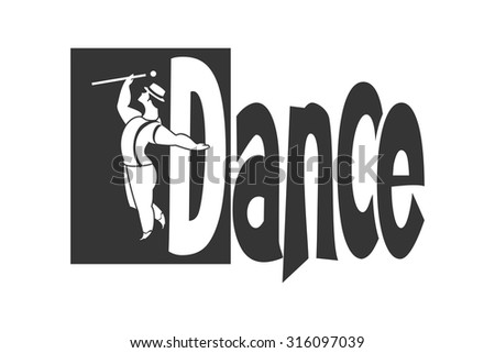 black and white image of a man logo of dancing around the word dancing on a white background