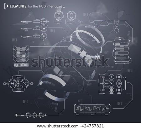 Black White Infographic Elements Hud Ui Stock Photo (Photo, Vector ...