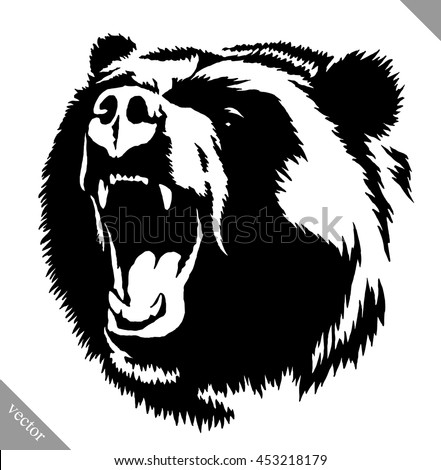 black and white ink draw bear vector illustration - stock vector