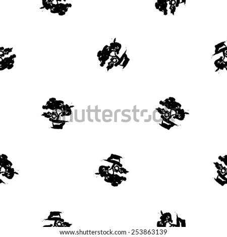 Black and white ink hand drawn brushstroke bonsai. Set of isolated japanese national symbols and elements. Chess grid order pattern.