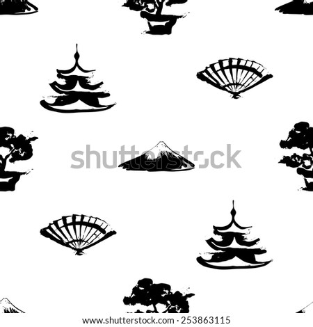 Black and white ink hand drawn brushstroke fan, pagoda, bonsai, Fuji. Set of isolated japanese national symbols and elements. Chess grid order pattern. - stock vector