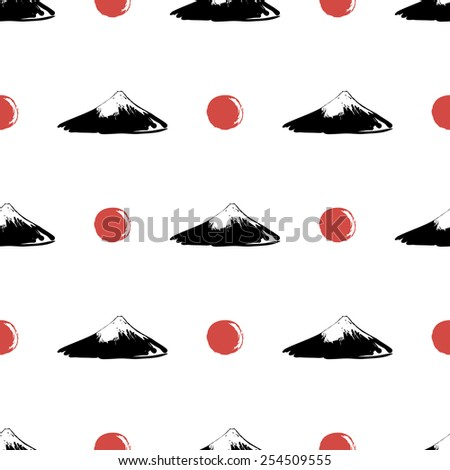 Black and white ink hand drawn brushstroke sun and Fuji. Set of isolated japanese national symbols and elements. Chess grid order pattern. - stock vector