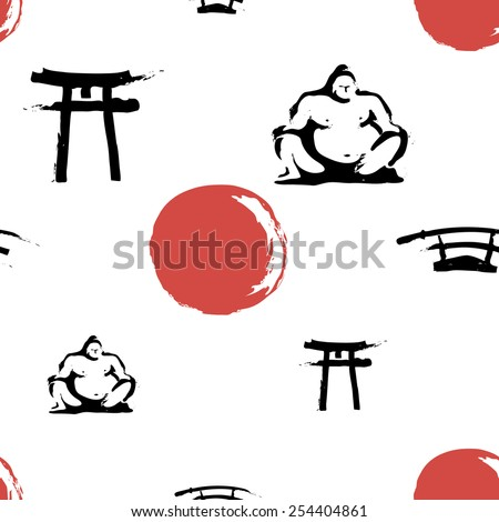 Black and white ink hand drawn brushstroke sword, sumo, sun, torii. Set of isolated japanese national symbols and elements. Chess grid order pattern. - stock vector