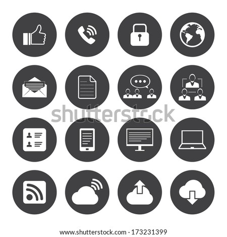 Black and White Internet icons set,Vector EPS10