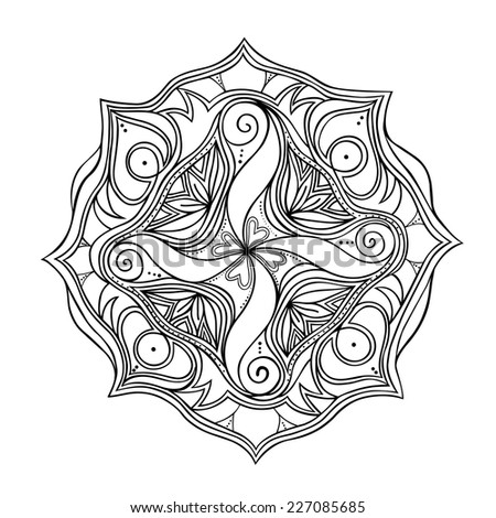 Black and white isolated mandala. Ornamental round pattern. Hand drawn vector element for your design - stock vector