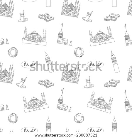 Black and white Istanbul tourist vector  textile print seamless pattern - stock vector