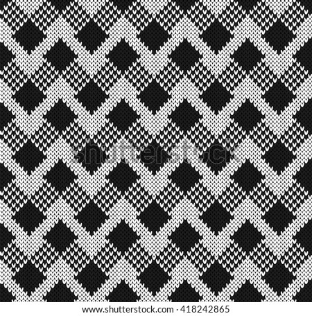 Black and white jacquard. Seamless Knitting Pattern