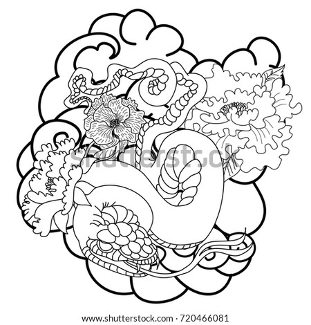 Black And White Japanese Snake With Peony Flower Tattoo Designdoodle Coloring Book