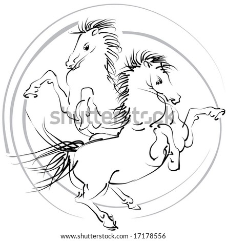 Black and white jumping horses