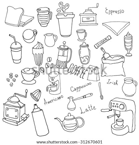 Black and white. Kitchen cereals. Cookware. Drink, coffee grinders, Mixer.  - stock vector