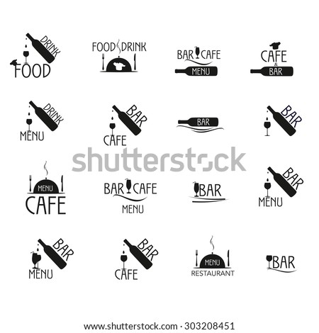Black and white Label set for restaurant and cafe, bar. Label set menu, food and drink.  - stock vector