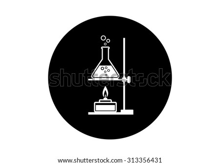 Black and white laboratory equipment on white background     - stock vector