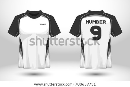 black and white layout football sport t shirt design template front back view - Team T Shirt Design Ideas