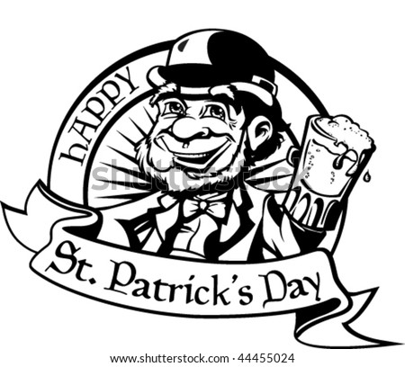 Black and white leprechaun with beer.