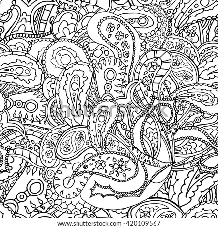 Black And White Line Art Ethnic Flowers Design Adult Coloring Book Page