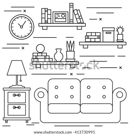 Black and white lineart living room with sofa and bookshelves.  - stock vector