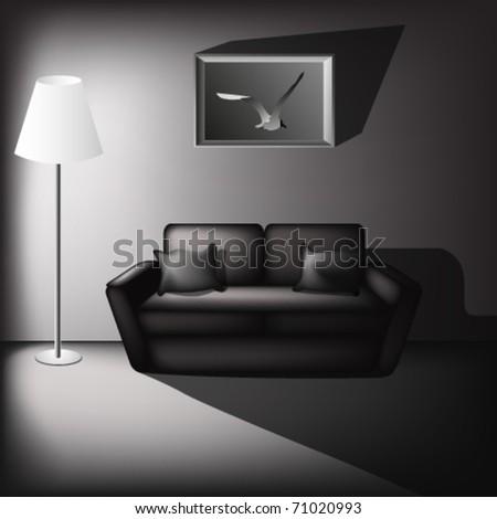 black and white living room illustration - stock vector