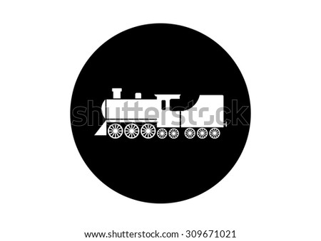 Black and white locomotive icon on white background    - stock vector