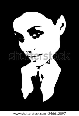 Black and white low key high contrast portrait of beautiful young woman easy editable layered