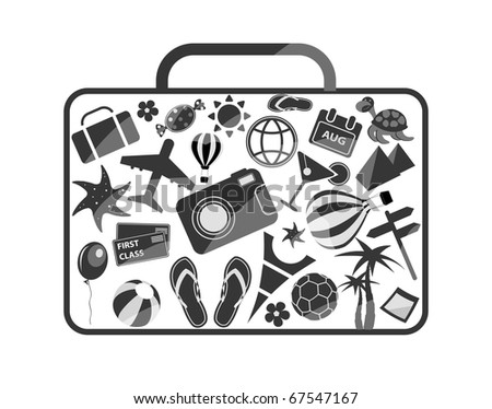 black and white luggage composed from different travel elements isolated on white background - stock vector