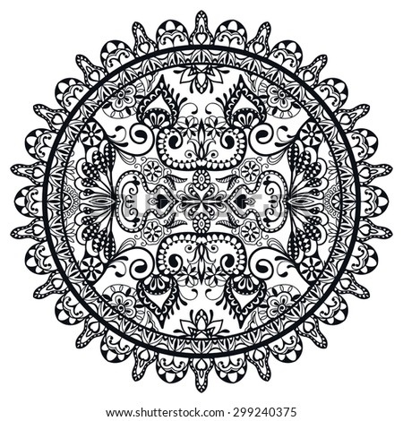 Black and white Mandala, decorative round tribal ethnic ornament, vector islamic arabic indian pattern. - stock vector