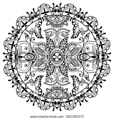 Black and white Mandala round ornament tribal ethnic pattern, islamic arabic indian motif, decorative element for card design, t-shirt print. Vector fashion illustration, hand drawn sketch background. - stock vector