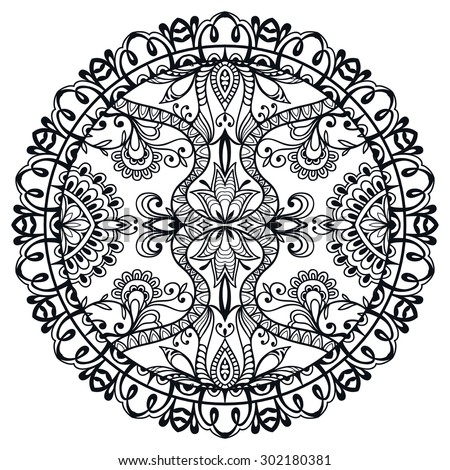 Black and white Mandala round ornament tribal ethnic pattern, islamic arabic indian motif, decorative element for card design, t-shirt print. Vector fashion illustration, hand drawn sketch background.