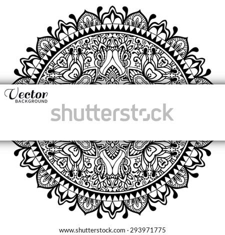 Black and white Mandala, tribal ethnic ornament, vector islamic arabic indian pattern. - stock vector