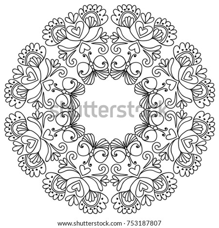 Black White Mandala Flowers Butterflies Coloring Stock Vector ...