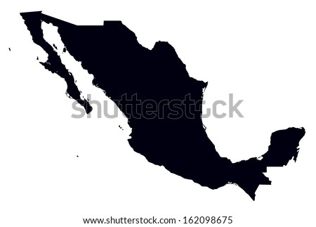 black and white map of Mexico - stock vector