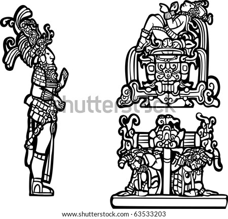 Black and white mayan spot image group. - stock vector
