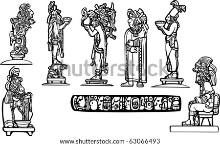 Black and white mayan temple group set derived from mayan traditional imagery. - stock vector