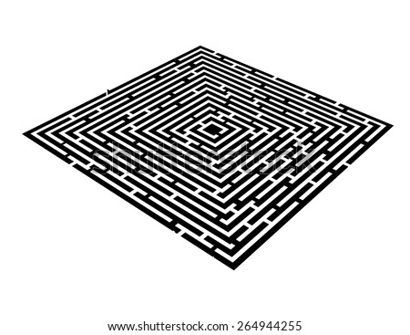 Black and White Maze - stock vector