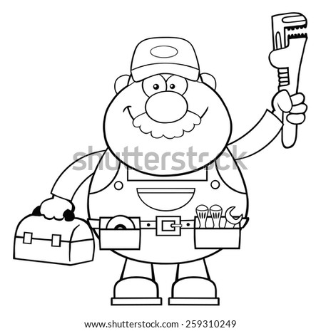 Black And White Mechanic Cartoon Character With Wrench And Tool Box. Vector Illustration Isolated On White - stock vector