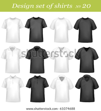 Black, and white men polo and t-shirts. Photo-realistic vector illustration - stock vector