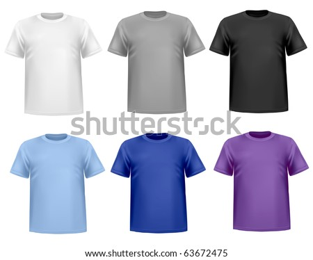 Black and white men polo shirts and t-shirts. Photo-realistic vector illustration - stock vector