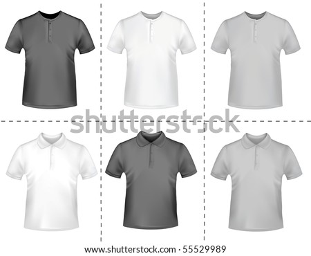 Black and white men polo shirts. Photo-realistic vector illustration
